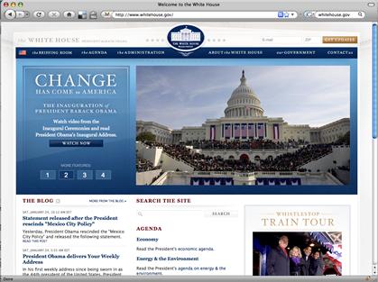 Screenshot of www.whitehouse.gov